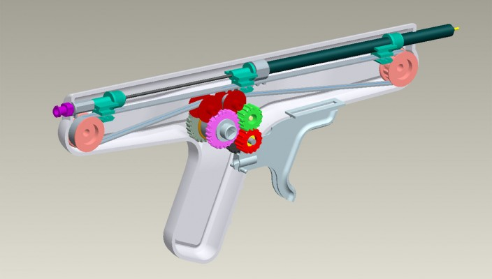 CAD render of the internal gears of the cook evolution gun
